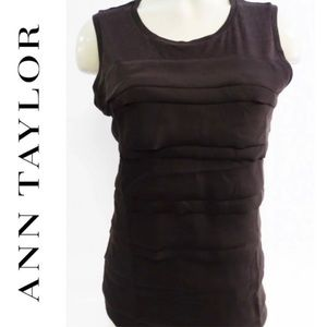 Ann Taylor Black Textured Dressy Tank Top. Size S